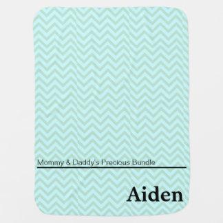 Blue Green Zigzag Personalized Boy Baby Blanket