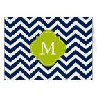 Blue & Green Zigzags Pattern Monogram Card
