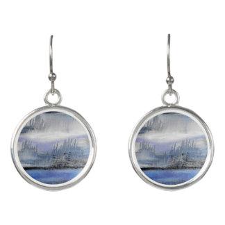 Blue Grey Abstract Drop Earrings
