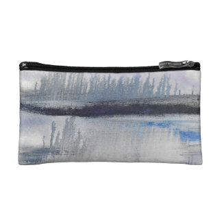 Blue Grey Abstract Small Cosmetic Bag