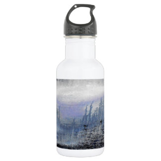 Blue Grey Abstract Water Bottle