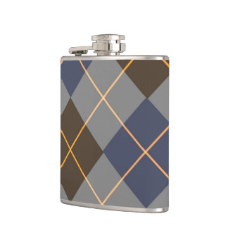 Blue & Grey Argyle Design Hip Flask