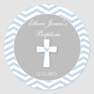 Blue Grey Baptism Favor Stickers Tags