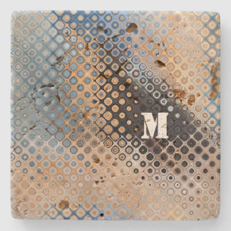 Blue Grey Beige Glass Dot Pattern Stone Coaster
