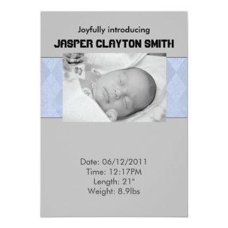 Blue Grey Birth Announcement