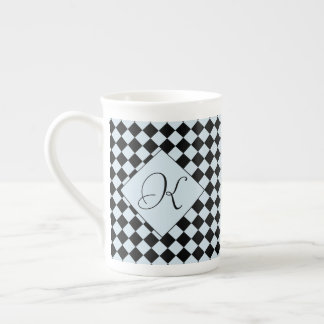 Blue Grey Black Harlequin Diamond Tea Cup