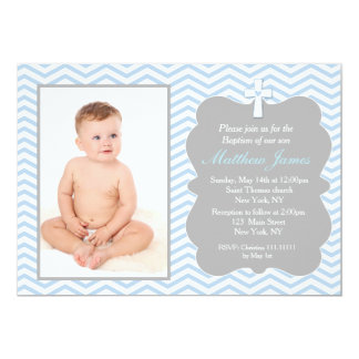 Blue Grey Chevron Baptism Invitations Boy