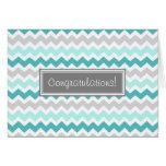 Blue Grey Chevron Congratulations New Baby Boy Greeting Card