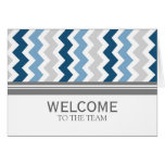 Blue Grey Chevron Employee Welcome to the Team Greeting Card