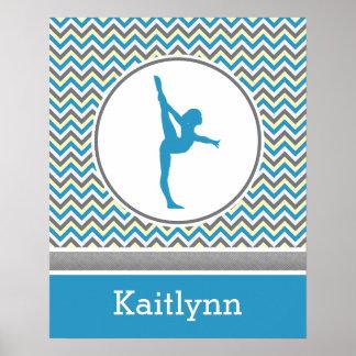 Blue / Grey Chevron Stripes Gymnastics w/ Monogram Poster