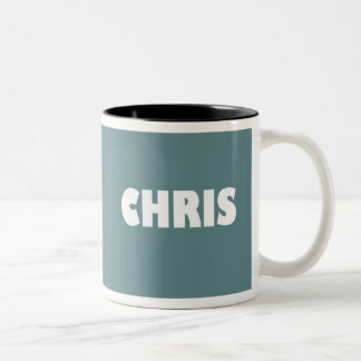 Blue-grey Chris name mug