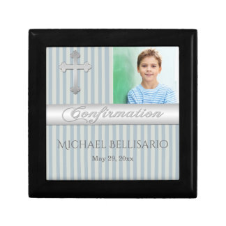 Blue, Grey Confirmation Keepsake Jewellery Box Small Square Gift Box