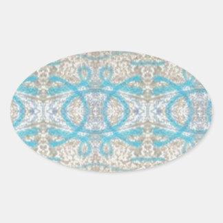 Blue Grey Curly Decorative Graffiti Wall Pattern Oval Sticker