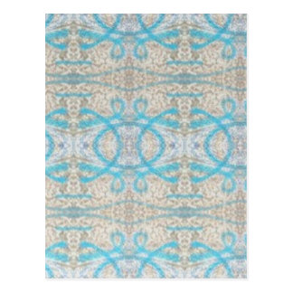 Blue Grey Curly Decorative Graffiti Wall Pattern Postcard