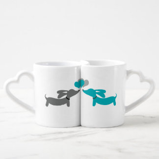 Blue & Grey Dachshund Couple Mug