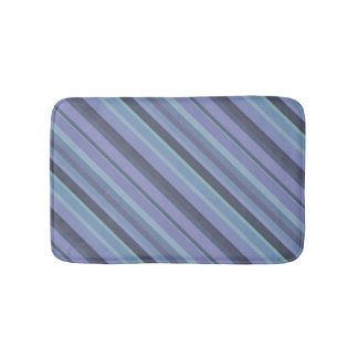 Blue-grey diagonal stripes bath mats