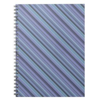 Blue-grey diagonal stripes spiral notebook