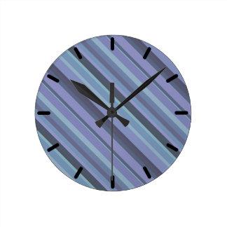 Blue-grey diagonal stripes wallclock
