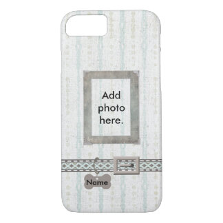 Blue Grey Dog Tag Collar Photo Frame on Stripes iPhone 8/7 Case