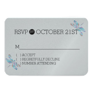 Blue Grey Dragonflies RSVP 3.5x5 Paper Invitation Card