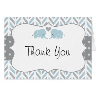 Blue Grey Elephant Baby Shower Thank You Card