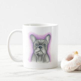 Blue grey French Bulldog with purple mug