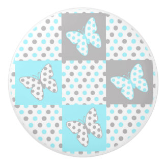 Blue Grey Gray Polka Dot Quilt Block Girl Nursery Ceramic Knob
