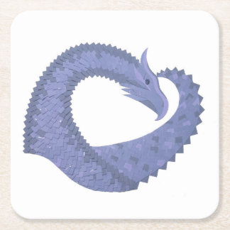 Blue-grey heart dragon on white square paper coaster