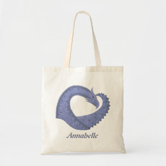 Blue-grey heart dragon on white tote bag