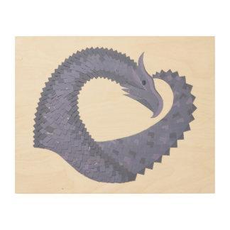 Blue-grey heart dragon on white wood wall art