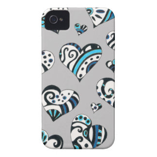 Blue grey hearts scribble Case-Mate iPhone 4 case