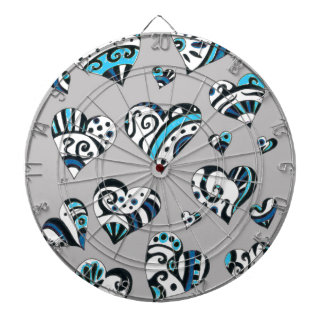 Blue grey hearts scribble dartboard