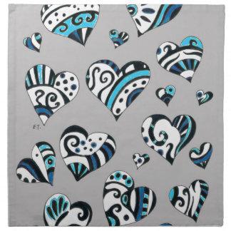 Blue grey hearts scribble napkin