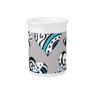 Blue grey hearts scribble pitcher