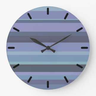 Blue-grey horizontal stripes large clock