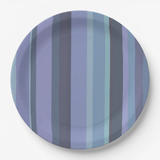 Blue-grey horizontal stripes paper plate