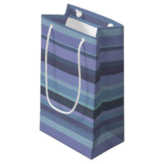 Blue-grey horizontal stripes small gift bag