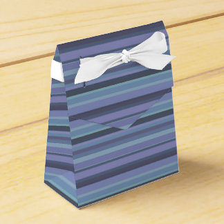 Blue-grey horizontal stripes wedding favour boxes