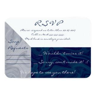Blue & Grey Marble Watercolor RSVP Card 9 Cm X 13 Cm Invitation Card