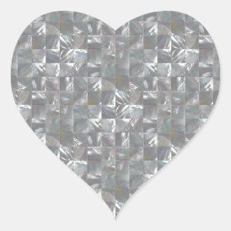 Blue-Grey Mother of Pearl Tile Pattern Heart Sticker