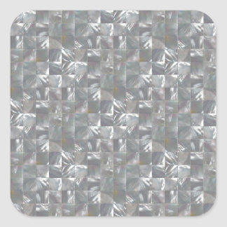 Blue-Grey Mother of Pearl Tile Pattern Square Sticker