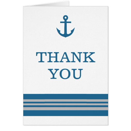 Blue Grey Nautical Anchor Thank You Card