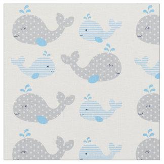 Blue & Grey Nautical Whale Baby Nursery Fabric