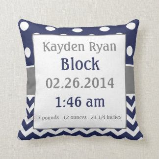 Blue Grey Personalised Baby Announcement Pillow