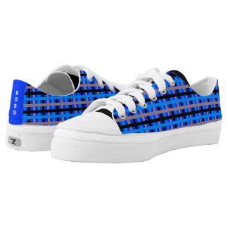Blue/Grey Pinstripes on Blue Low Tops