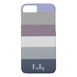 Blue Grey Purple Stripe Monogram Name Customize iPhone 8/7 Case