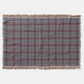 Blue Grey Red Tartan Plaid Throw Blanket