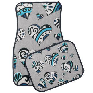 blue grey scribble hearts car mat
