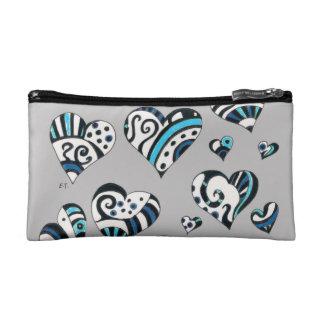 blue grey scribble hearts cosmetic bag
