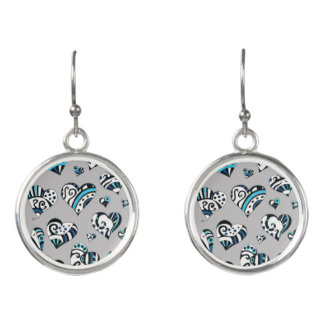 blue grey scribble hearts earrings